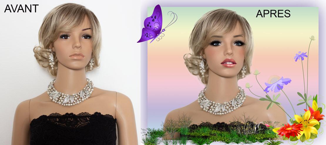Détourage photographique et maquillage, réalisé avec Adobe Photoshop